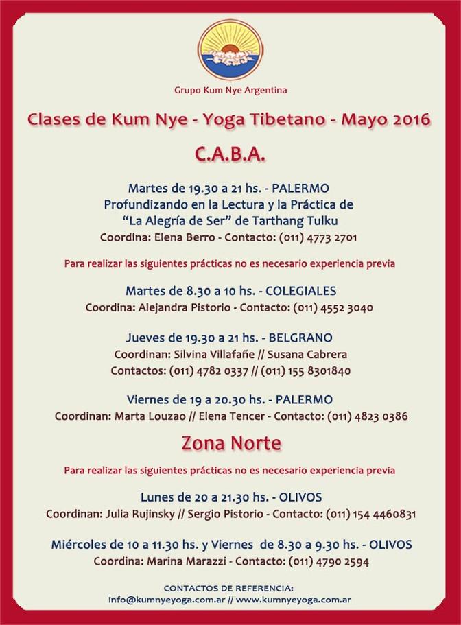 Clases Kum Nye -Yoga Tibetano •  Mayo 2016