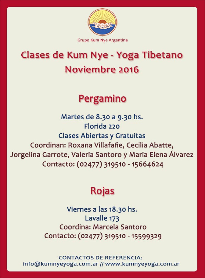 Clases de Kum Nye - Yoga Tibetano en Pergamino y Rojas • Noviembre 2016
