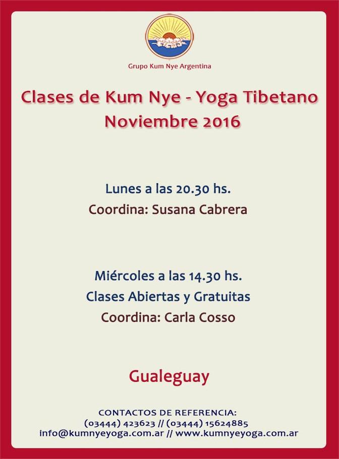 Clases de Kum Nye - Yoga Tibetano en Gualeguay • Noviembre 2016