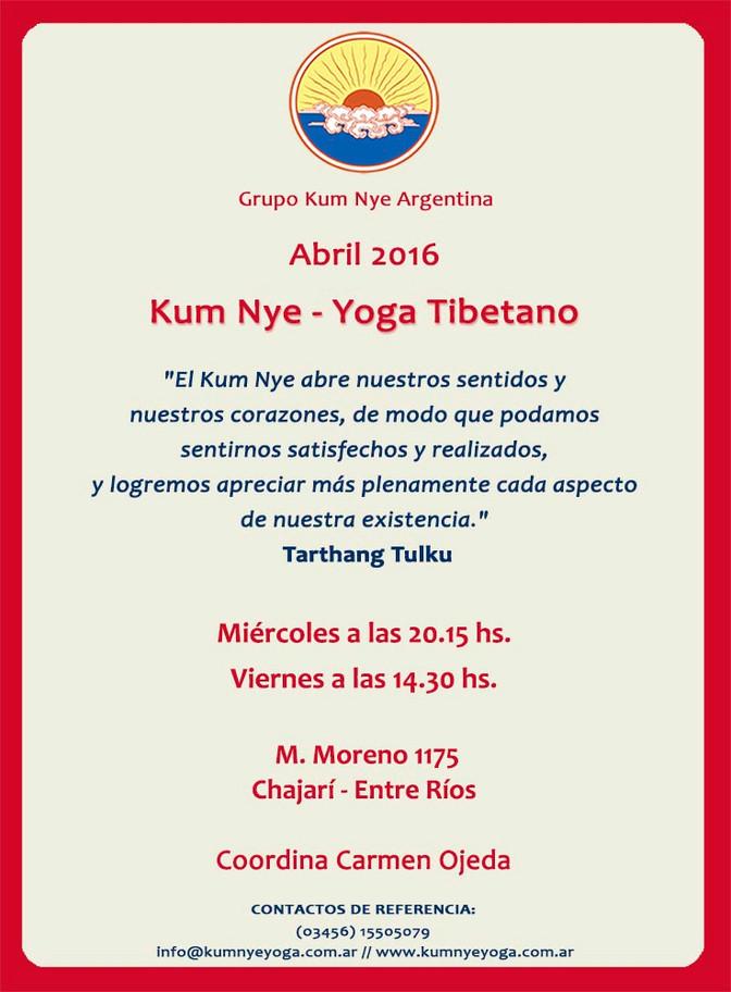Kum Nye - Yoga Tibetano en Chajarí • Abril 2016
