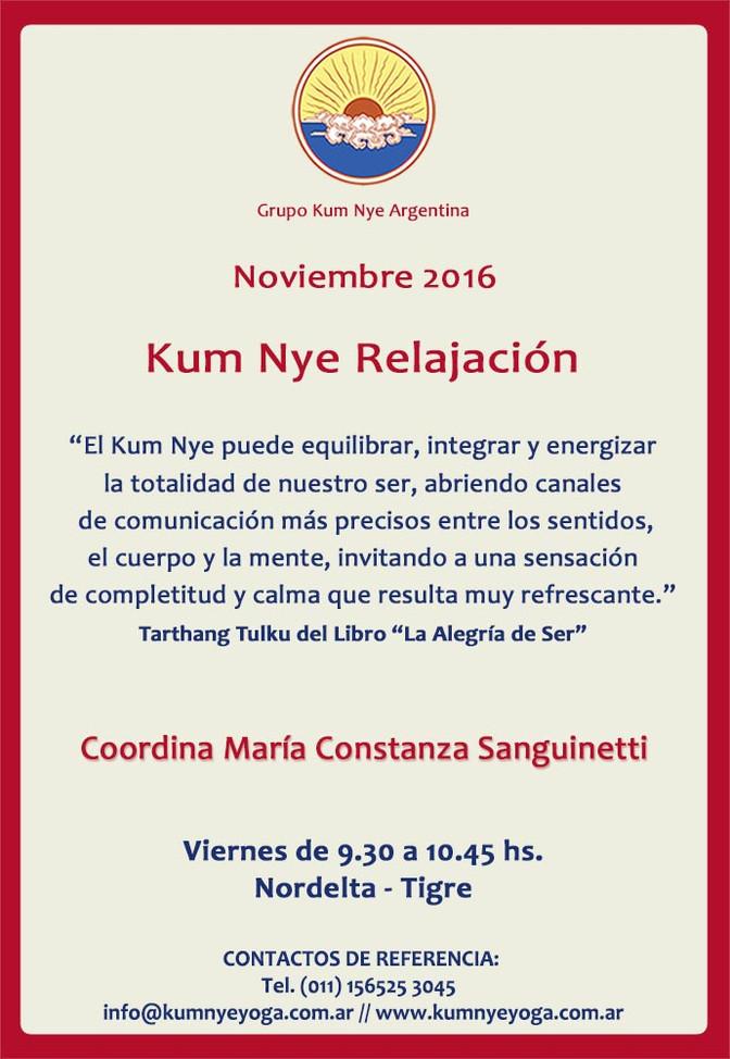 Kum Nye Relajación en Nordelta - Tigre • Noviembre 2016