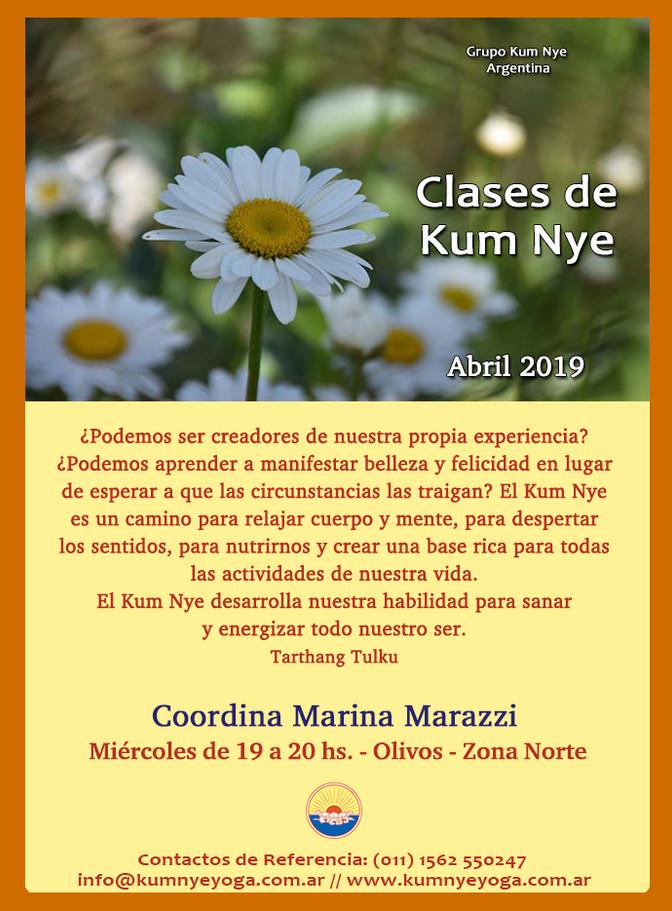 Clases de Kum Nye en Olivos - Abril 2019