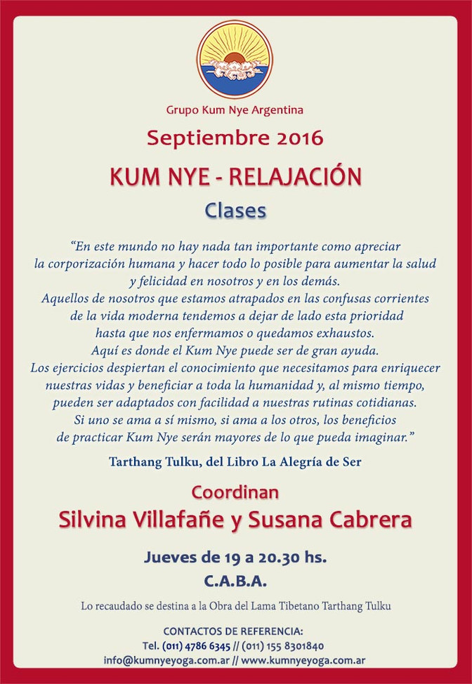 Kum Nye - Relajación en C.A.B.A. • Septiembre 2016