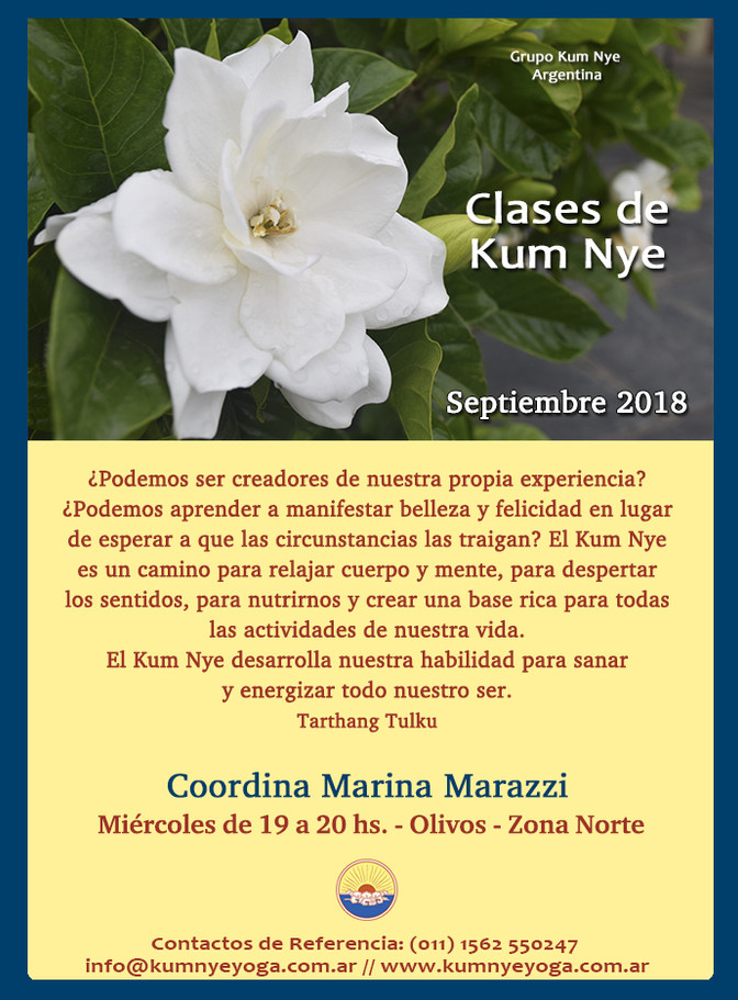 Clases de Kum Nye en Olivos - Zona Norte  • Septiembre 2018