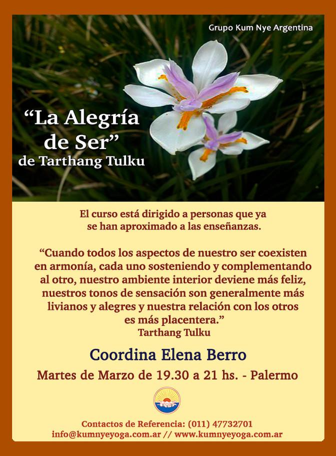 """""""La Alegría de Ser"""" de Tarthang Tulku - Palermo - Marzo de 2019"""