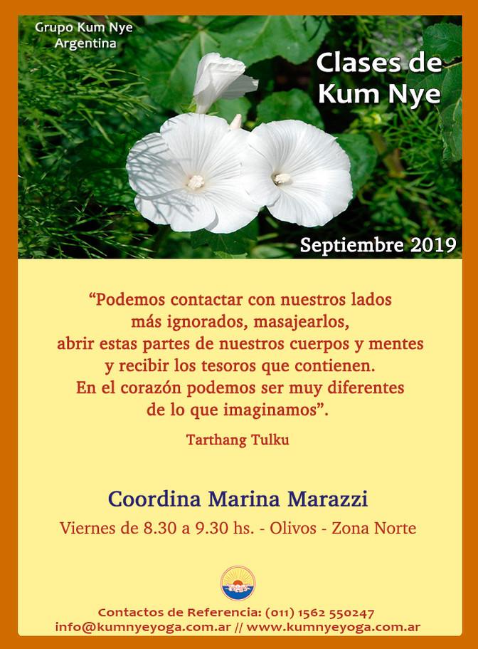 Clases de Kum Nye - Viernes en Olivos - Septiembre 2019