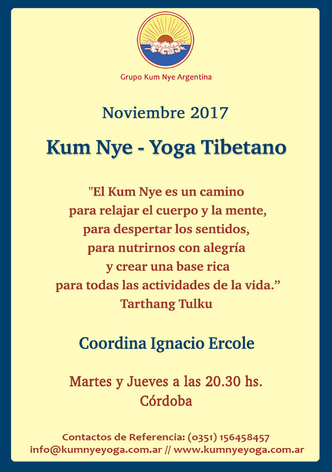 Kum Nye - Yoga Tibetano en Córdoba • Noviembre 2017