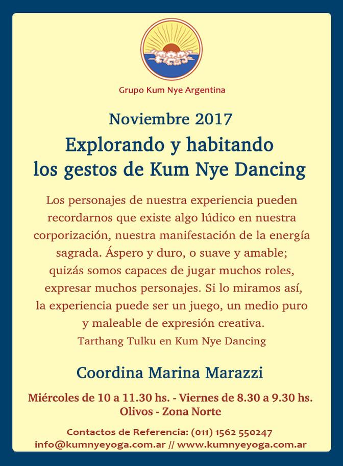 Explorando y habitando los gestos  de Kum Nye Dancing • Noviembre 2017