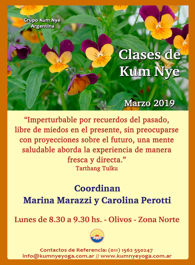Clases de Kum Nye - Yoga Tibetano en Olivos - Marzo de 2019