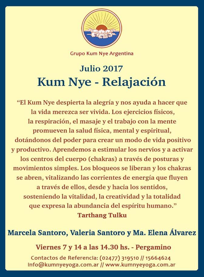 Clases de  Kum Nye - Relajación en Pergamino • Julio 2017