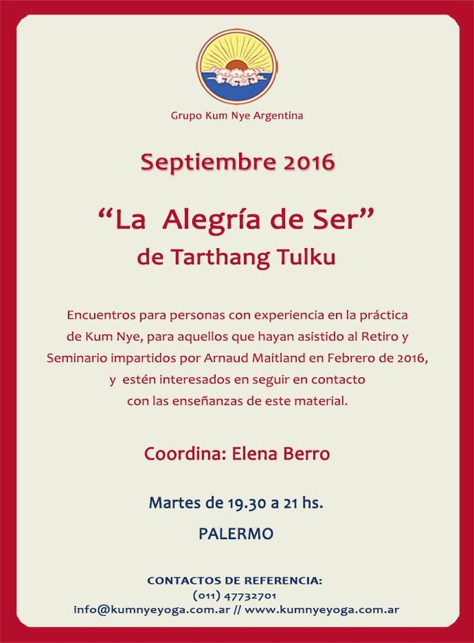 """La Alegría de Ser"" de Tarthang Tulku • Septiembre 2016"