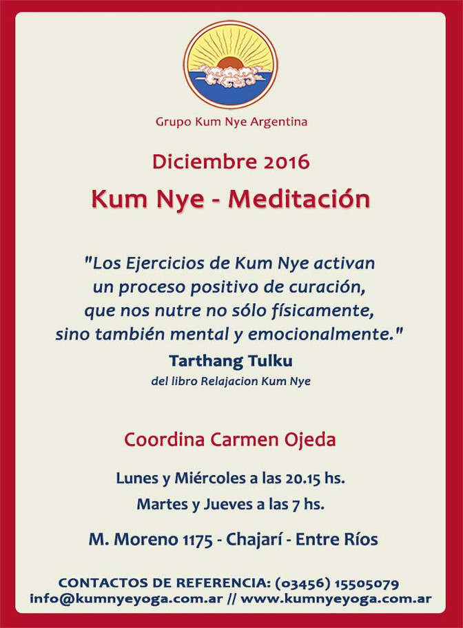 Kum Nye - Meditación en Chajarí - Entre Ríos • Diciembre 2016