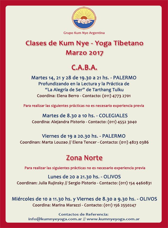 Clases de Kum Nye -Yoga Tibetano en C.A.B.A. • Marzo 2017