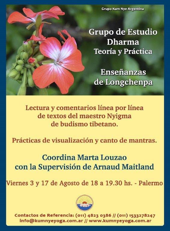 Grupo de Estudio Dharma - Enseñanzas de Longchenpa - Teoría y Práctica • Agosto 2018