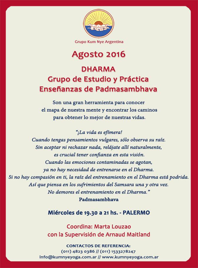 Dharma. Grupo de Estudio y Práctica. Enseñanzas de Padmasambhava  • Agosto 2016