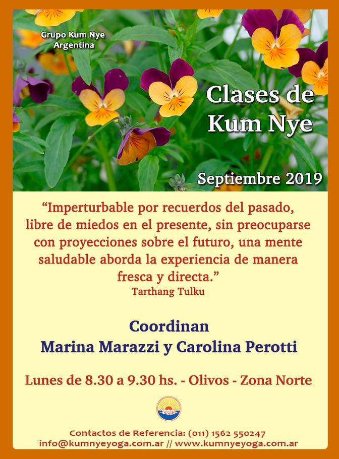 Clases de Kum Nye en Olivos - Septiembre 2019