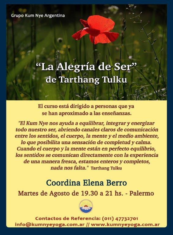 """La Alegría de Ser"" de Tarthang Tulku en Palermo • Agosto 2018"