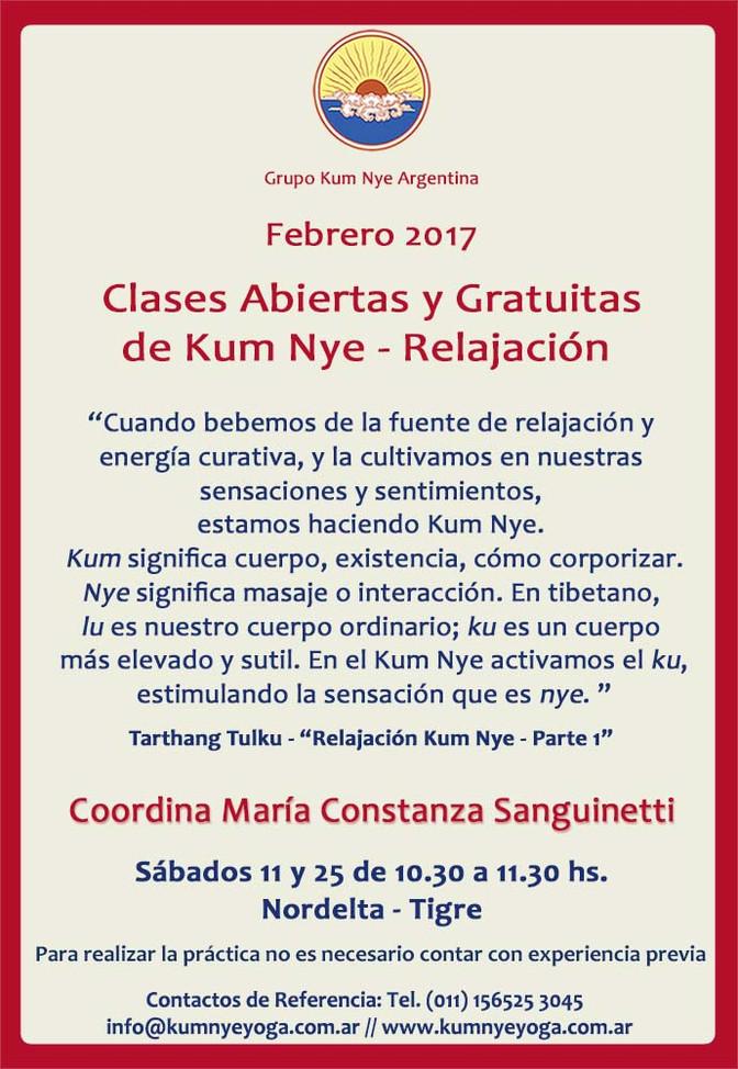Clases Abiertas y Gratuitas de Kum Nye - Relajación en Nordelta - Tigre • Febrero 2017