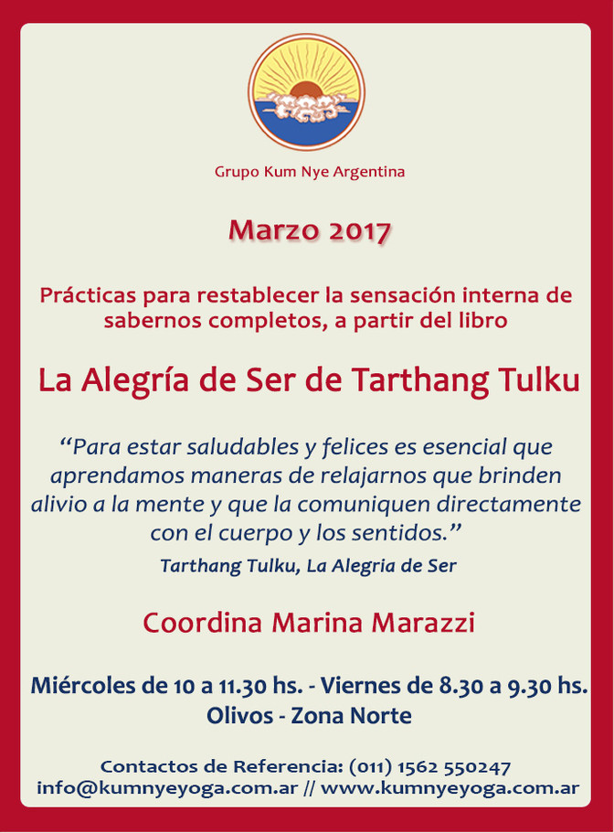 """""""La Alegría de Ser"""" de Tarthang Tulku en Olivos- Zona Norte • Marzo 2017"""