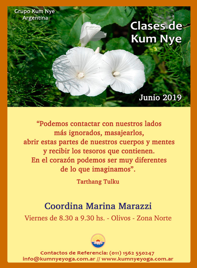 Clases de Kum Nye - Zona Norte- Junio de 2019