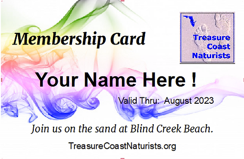 Membership in Treasure Coast Naturists
