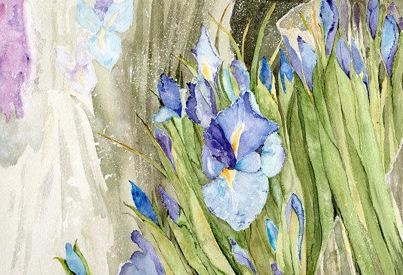 enlarged print: blue flag iris