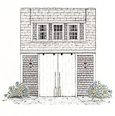 commissioned entranceway drawings, commissioned pen and ink drawings of buildings, entranceways, doorways. Making an Entrance in Saratoga