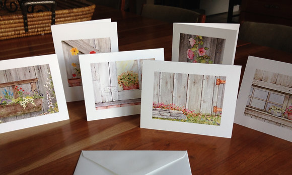 rustic wood & floral notecards