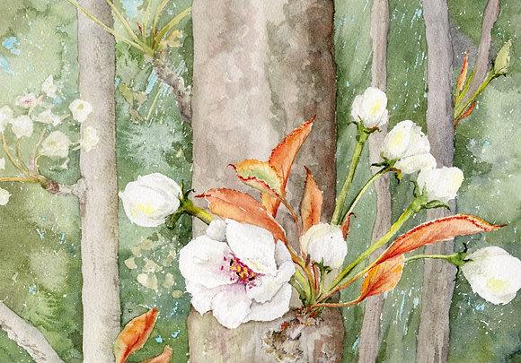 white bud, orange leaves print
