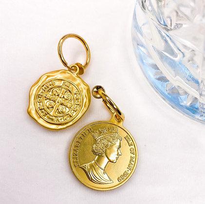 Munt zegel clipoorbellen goud  dos pesos Clipoorbel | Clipoorbellen | Oorclips | Oorbellen zonder piercing |
