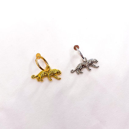 Tijger zilver goud | Clipoorbel | Clipoorbellen | Oorclips | Oorbellen zonder piercing | Oorbellen met clips | Klipoorbellen
