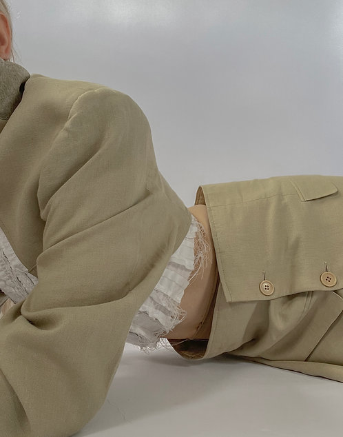 Reworked Beige Bolero Skirt Set