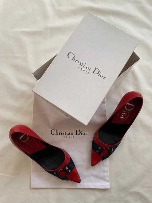 Vintage Dior Red and Black Heels