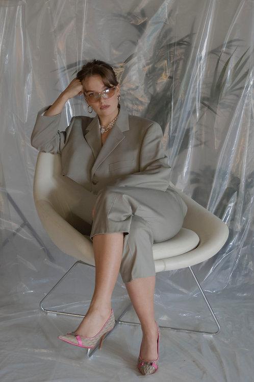 Reworked Yves Saint Laurent Beige 3 Piece Suit