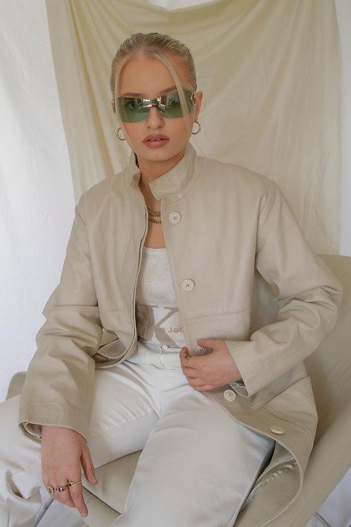 Vintage Cream Leather Coat
