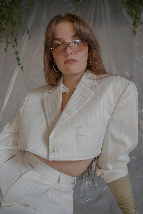 Reworked Cream Pinstripe Suit
