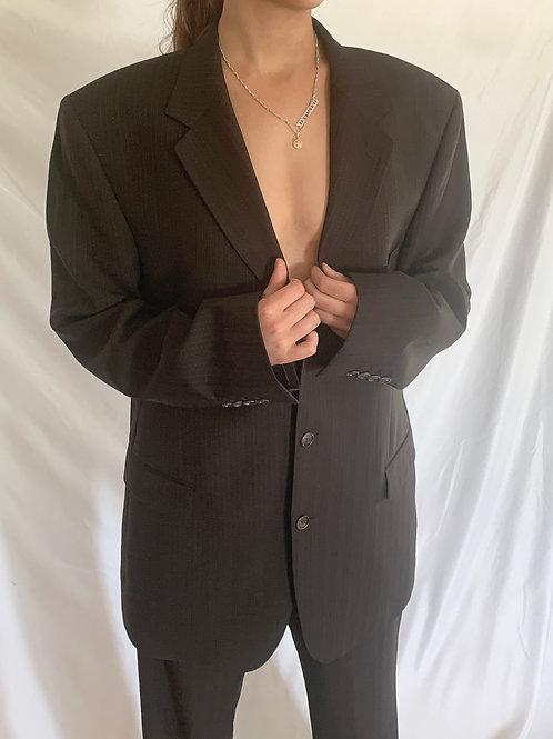 Reworked Yves Saint Laurent Brown Pinstripe Suit
