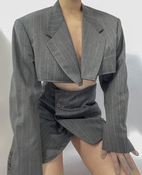 Reworked Valentino Charcoal Pinstripe Skirt Set
