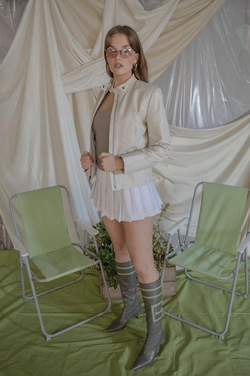 Vintage Cream Leather Jacket