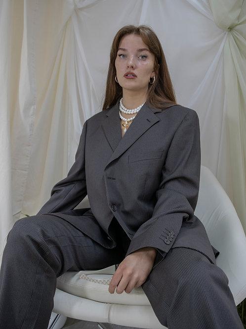 Reworked Balmain Brown Pinstripe Suit