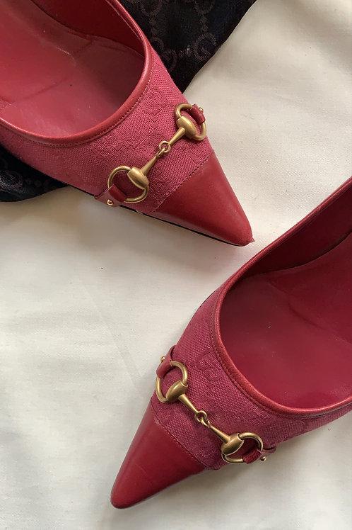 Vintage Gucci Pink Monogram Kitten Heels