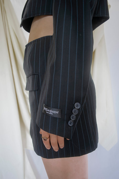 Reworked Yves Saint Laurent Pinstripe Skirt Set