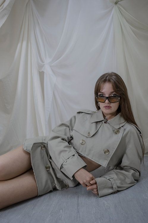 Reworked Burberry Trench Skirt Set