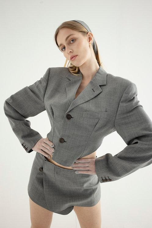 Reworked Valentino Grey Backless Blazer