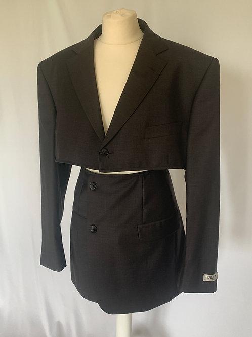 Reworked Charcoal Balmain Skirt Set