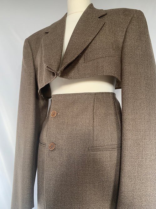 Reworked Valentino Brown Skirt Set
