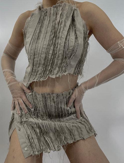 Raw Edge Backless Top and Skirt Set