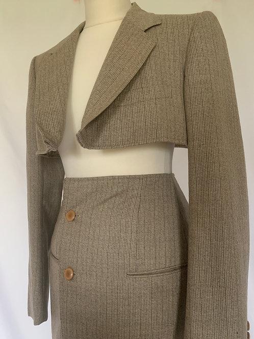 Reworked Yves Saint Laurent Beige Skirt Set