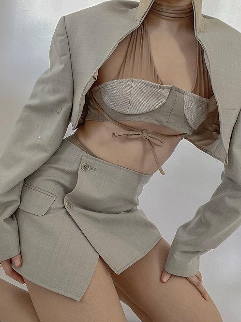 Reworked Taupe Bolero Skirt Set