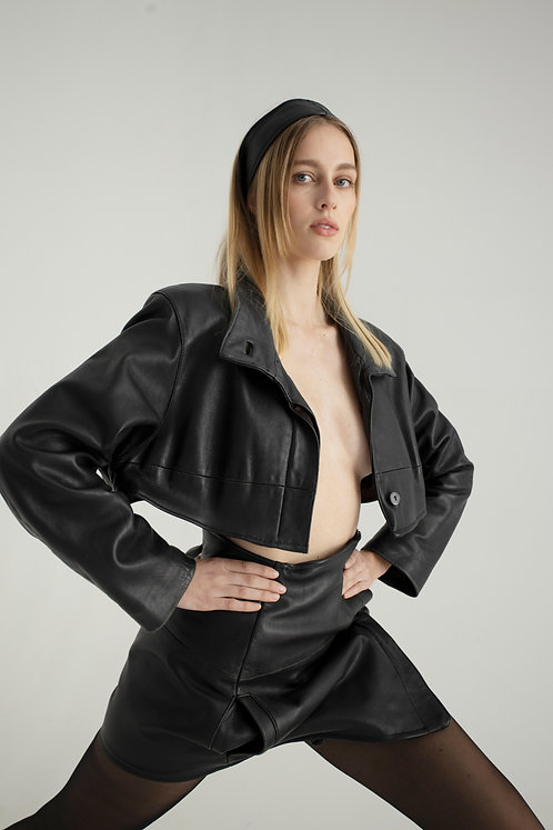 Reworked Leather Skirt Set
